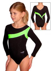 Gymnastický dres S37d-7 černo-reflexní zelená