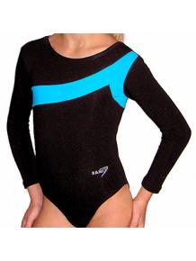 Gymnastický dres S37d-7 černo-tyrkysová
