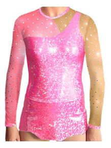Dres na moderní gymnastiku - trikot M905 reflexní růžová