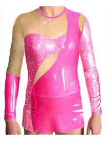 Dres na moderní gymnastiku - trikot M908 reflexní růžová