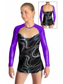 Dres na moderní gymnastiku - trikot M907v459 černostříbrná-fialová