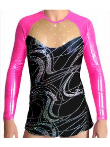 Dres na moderní gymnastiku - trikot M907v459 černostříbrná-růžová