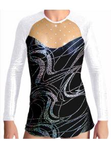 Dres na moderní gymnastiku - trikot M907v459 černostříbrná-bílá