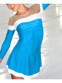 Krasobruslařské šaty - trikot K707 tyrkysovo-bílá