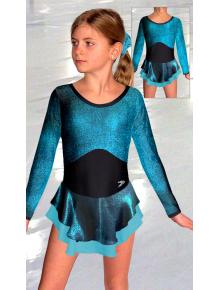 Krasobruslařské šaty - trikot K735 černo-tyrkysová