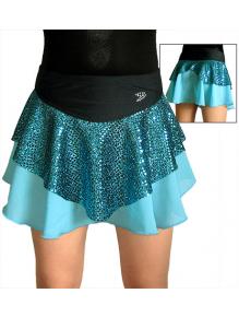 Taneční sukně K805b tyrkysovo-černá