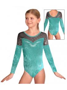 Gymnastický dres závodní D37d-713 zelenomodrá