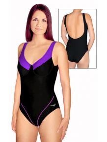 Dámské plavky jednodílné s kosticemi P11 černá s fialovou