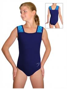 Gymnastický dres závodní D37r-47 t308 s tmavě modrou