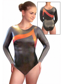 Gymnastický dres GK Elite tmavě šedý s oranžovou