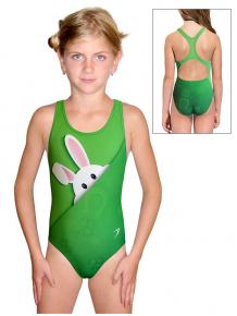 Dívčí sportovní plavky jednodílné PD623 t200 zelená