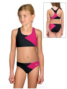 Dívčí sportovní plavky dvoudílné PD661 černo růžové