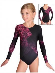 Gymnastický dres závodní D37d-52_t804 černorůžová