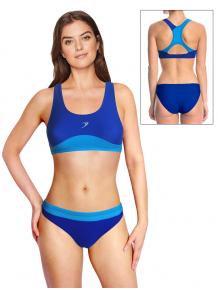 Dámské sportovní plavky dvoudílné P665x modrá s tyrkysovou