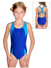 Dívčí sportovní plavky jednodílné PD624x modrá s tyrkysovou