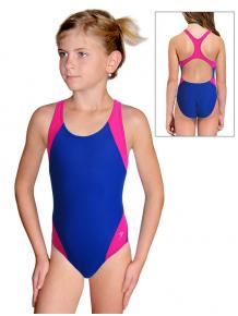 Dívčí sportovní plavky jednodílné PD630x modrá s růžovou