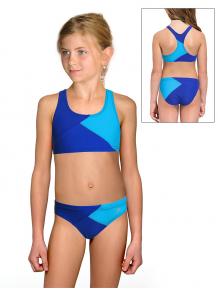 Dívčí sportovní plavky dvoudílné PD661x modrotyrkysové