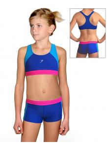 Dívčí sportovní plavky dvoudílné s nohavičkou PD664x  modrá s tyrkysovou a růžovou