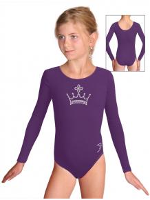 Gymnastický dres B37dg f44 tmavě fialová elastická bavlna