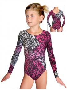 Gymnastický dres závodní D37d-52_t804 bílorůžová