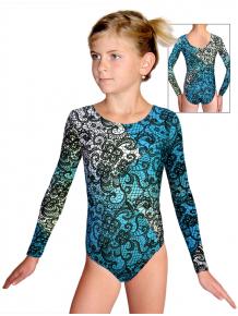 Gymnastický dres závodní D37d-52_t804 bílotyrkysová