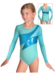 Gymnastický dres závodní D37d-2xx světle zelenomodrá