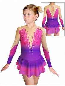 Krasobruslařské šaty - trikot K739 t115 fialovorůžová