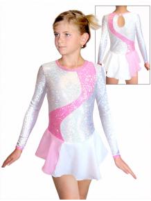 Krasobruslařské šaty - trikot K709 bílorůžová