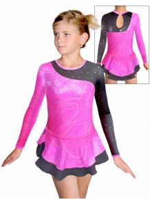 Krasobruslařské šaty - trikot K724 v458 růžovostříbrná s černou