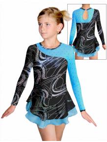 Krasobruslařské šaty - trikot K724 v459 černostříbrná s tyrysovou