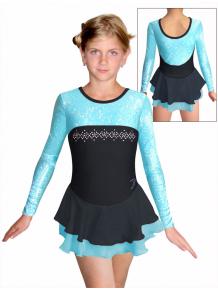 Krasobruslařské šaty - trikot K730 F1 černotyrkysová