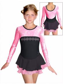 Krasobruslařské šaty - trikot K730 F1  černorůžová