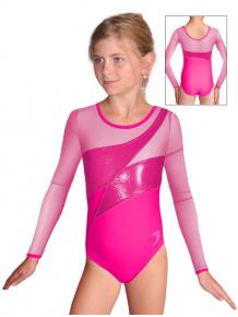Gymnastický dres závodní D37d-2 s růžovým tylem