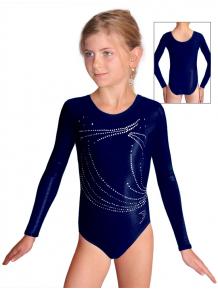 Gymnastický dres závodní D37dsl F26 tmavě modrá metalíza