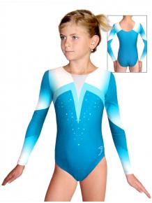 Gymnastický dres závodní D37d t120 tyrkysová