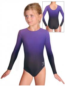 Gymnastický dres závodní D37d t122 černofialová ombré