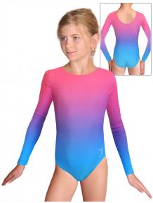 Gymnastický dres závodní D37d t122 tyrkysovorůžová ombré