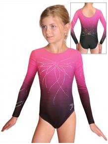 Gymnastický dres závodní D37d t122 F62 černorůžová ombré
