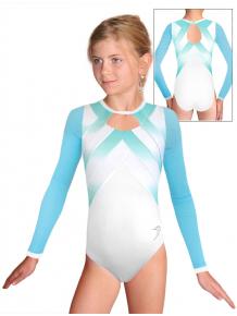 Gymnastický dres závodní D37d-66 t122 bílotyrkysová