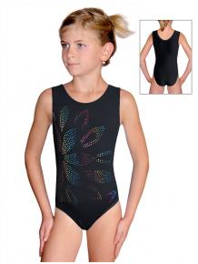 Gymnastický dres D37rgf59b černá lesklá plavkovina