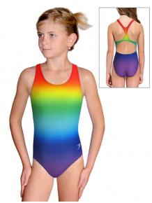 Dívčí sportovní plavky jednodílné PD623 t123 duhová