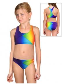 Dívčí sportovní plavky dvoudílné PD661 t123 duhová