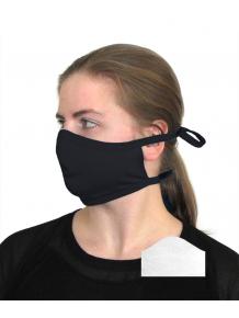 Bavlněná rouška DVOUVRSTVÁ S KAPSOU černá + 1ks filtru - pro dospělé