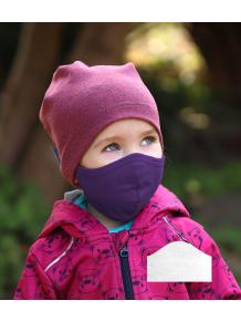 Bavlněná rouška DVOUVRSTVÁ S KAPSOU tmavě fialová  + 1ks filtru - pro děti (cca 3-12 let)