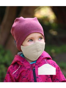 Bavlněná rouška DVOUVRSTVÁ S KAPSOU béžová  + 1ks filtru - pro děti (cca 3-12 let)