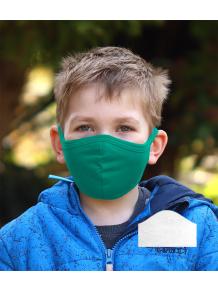 Bavlněná rouška DVOUVRSTVÁ S KAPSOU tmavě zelená  + 1ks filtru - pro děti (cca 3-12 let)