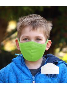 Bavlněná rouška DVOUVRSTVÁ S KAPSOU zelená  + 1ks filtru - pro děti (cca 3-12 let)