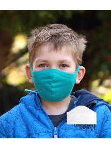 Bavlněná rouška DVOUVRSTVÁ S KAPSOU modrozelená  + 1ks filtru - pro děti (cca 3-12 let)