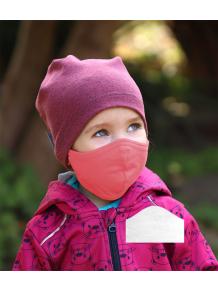 Bavlněná rouška DVOUVRSTVÁ S KAPSOU lososová  + 1ks filtru - pro děti (cca 3-12 let)