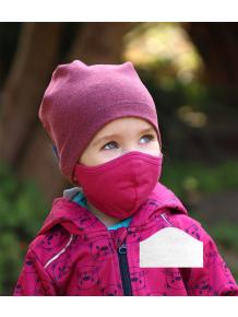 Bavlněná rouška DVOUVRSTVÁ S KAPSOU růžová  + 1ks filtru - pro děti (cca 3-12 let)